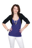 Woman in blue with arms akimbo, Royalty Free Stock Image