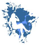 Woman on a blue background vector illustration