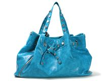 Woman blue bag Stock Images