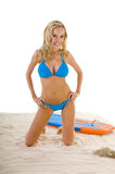 Woman In Blue Bikini On Beach stock images