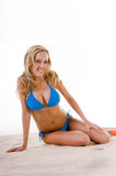 Woman In Blue Bikini On Beach Royalty Free Stock Images
