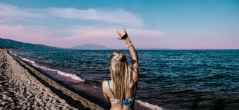 Woman in Blue Bikini Standing Beside Shore Royalty Free Stock Image