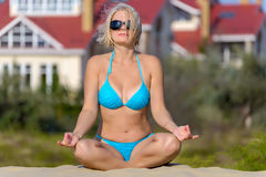 Woman in a blue bikini Royalty Free Stock Photos