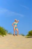 Woman in a blue bikini Stock Image