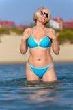Woman in a blue bikini Stock Photo