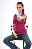 Woman with blue blank card. Young attractive woman with blue blank card Stock Photography