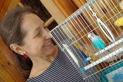 Woman  with blue budgie Stock Photography
