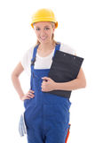Woman in blue builder uniform holding clipboard isolated on whit Royalty Free Stock Image
