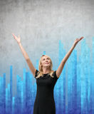 Woman and blue chart Stock Photos
