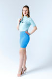Woman in a blue clothes Stock Photography