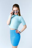 Woman in a blue clothes Royalty Free Stock Image