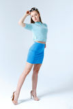 Woman in a blue clothes Stock Image