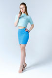 Woman in a blue clothes Royalty Free Stock Photos