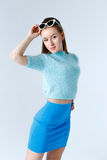 Woman in a blue clothes Royalty Free Stock Photo