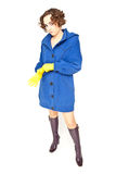 Woman in blue coat Stock Image