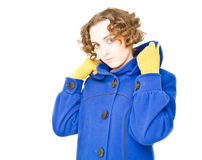 Woman in blue coat Royalty Free Stock Photos