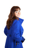 Woman in blue coat. On white background Stock Photography