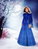 Woman in blue coat stock illustration