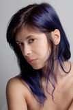 Woman With Blue Colored Hair Stock Images