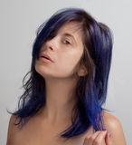 Woman With Blue Colored Hair Royalty Free Stock Photo
