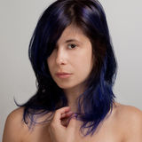 Woman With Blue Colored Hair Stock Photos