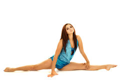 Woman blue dance splits Royalty Free Stock Image