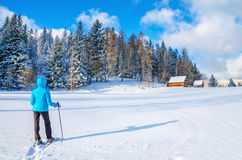 Woman in blue dawn jacket with mountain hut Royalty Free Stock Photography