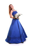 Woman with blue dress Stock Images