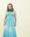 Woman in a blue dress Stock Photos