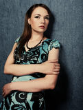 Woman in a blue dress Royalty Free Stock Photos