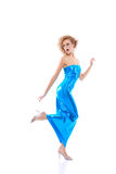 Woman in blue dress Stock Image