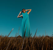 Woman in blue dress Royalty Free Stock Images