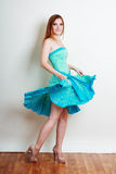 Woman Blue Dress Stock Photo
