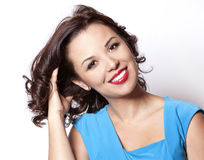 Woman in blue dress Stock Photos