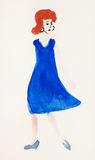 Woman in blue dress and blue shoes Royalty Free Stock Photo