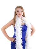 Woman in blue dress with her white feathered boa Royalty Free Stock Photo