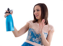 Woman in a blue dress Royalty Free Stock Photography