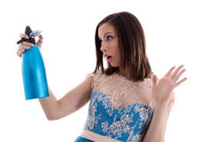 Woman in a blue dress Royalty Free Stock Images