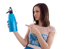 Woman in a blue dress Stock Photography