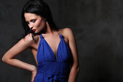 Woman in blue dress Royalty Free Stock Photo