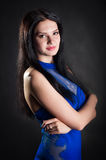 A woman in a blue dress Royalty Free Stock Photos