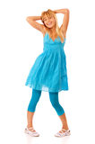 Woman in a blue dress posing Royalty Free Stock Images