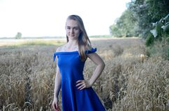 Woman in blue dress surrounded by wheat Royalty Free Stock Photo