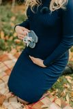 A woman in a blue dress Stock Photo