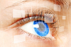 Woman blue eye looking on digital virtual screen Royalty Free Stock Photo