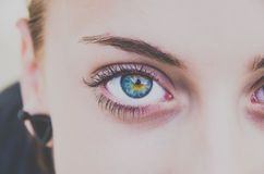 Woman with blue eyes Stock Photos