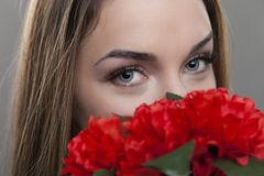 Woman with blue eyes Stock Images