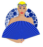 Woman with Blue Fan Stock Images