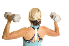 Woman in blue fitness tank top back weights up Stock Image