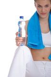 Woman with blue fitness towel Royalty Free Stock Images